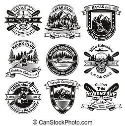 Vintage badges for kayak club vector illustration set