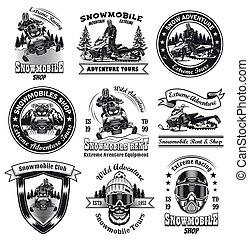 Vintage badges for snowmobile shop vector illustration set