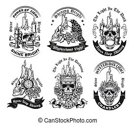 Vintage badges with candle on skull vector illustration set
