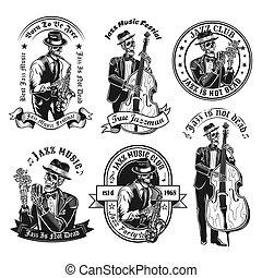 Vintage badges with jazzman skeleton vector illustration set