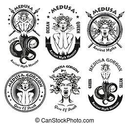 Vintage badges with Medusa Gorgon vector illustration set