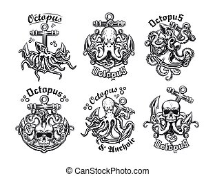 Vintage badges with octopus and anchor vector illustration set