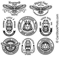 Vintage badges with owls vector illustration set
