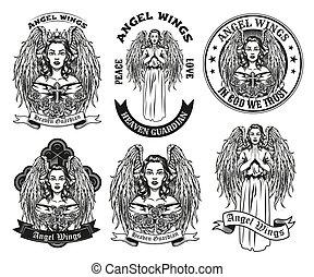Vintage badges with pretty angel vector illustration set