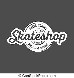 vintage badges with skateboard - skateboarding labels,...