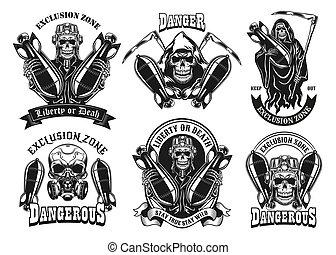 Vintage badges with skeleton and bomb vector illustration set