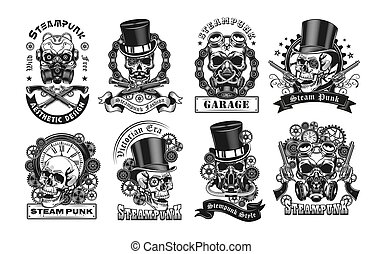 Vintage badges with steampunk skull vector illustration set