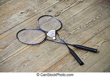 Vintage badminto racquets with shuttlecock