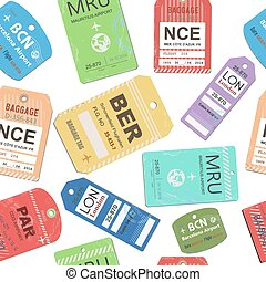 Vintage baggage, luggage travel tags seamless - Vintage...