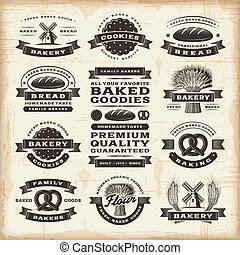 A set of fully editable vintage bakery labels in woodcut style. EPS10 vector illustration.