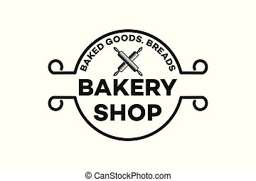 vintage bakery shop logo inspiration isolated on white background