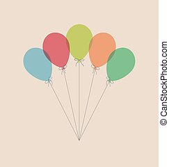 Vintage balloons isolated on beige