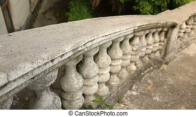 Vintage balusters. Staircase of the old palace.