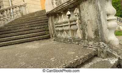 Vintage balusters. Staircase of the old palace, 4k, slow...