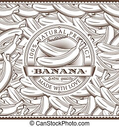 Vintage Bananas Label On Seamless Pattern