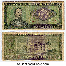 vintage banknote - high resolution vintage romanian banknote...