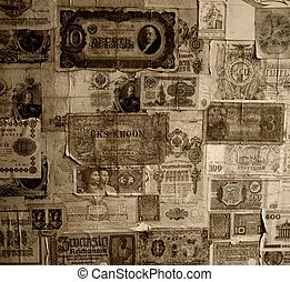 Vintage banknotes wallpaper.