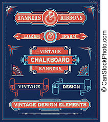 Vintage banner scroll set - Vintage retro banner design set...
