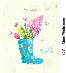 vintage banner with bouquet of spring flowers in rubber boots fo