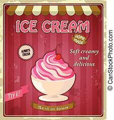 vintage banner with cherry ice cream - Vector illustration...