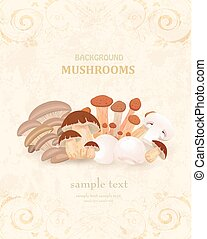 vintage banner with edible mushrooms for your design