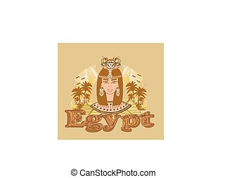 Vintage banner with Egyptian queen