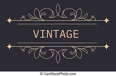 Vintage banner with floral ornaments and arrows vector