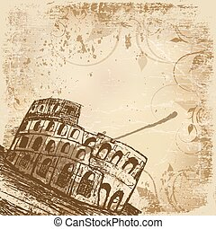 Coliseum - Vintage banner with hand drawn illustration of...