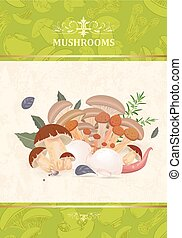 vintage banner with mushrooms and herbs for your design