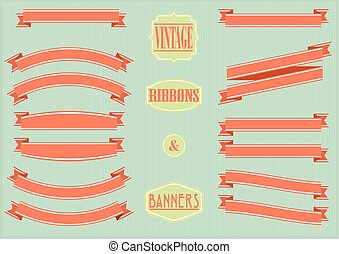 vintage banners and ribbons - set of vintage ribbons and...
