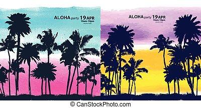 Vintage banners of Hawaiian island