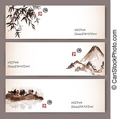 Vintage banners with bamboo, mountains and island