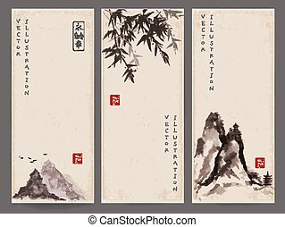 Vintage banners with red sun, mountains and bamboo