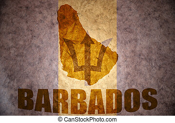 barbados map on a vintage barbados flag background