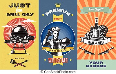 Vintage Barbecue Colored Vertical Banners