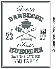 Vintage barbecue party invitation.