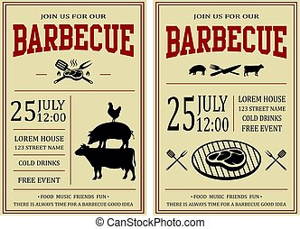 Vintage barbecue party invitation. BBQ, food flyer template.