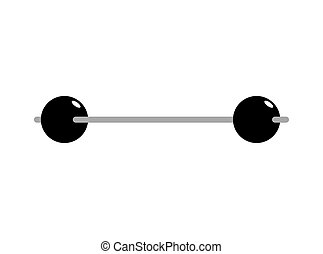 Vintage barbell isolated. Retro sports equipment for athletes
