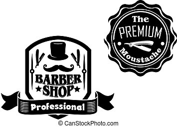 Set of vintage black and white banners or labels with curled mustache, stovepipe hat, razors and ribbon enclosed in shield and seal frames isolated on white background