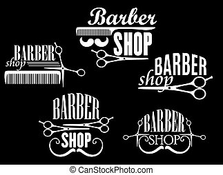 Vintage barber shop emblems on black background