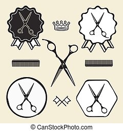 Vintage barber shop scissors symbol emblem label collection