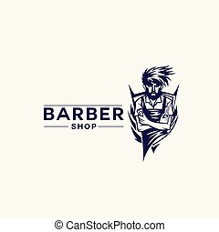 vintage barber shop vector illustration