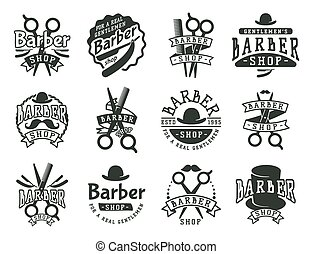 Vintage barber vector logo retro style haircutter typography...