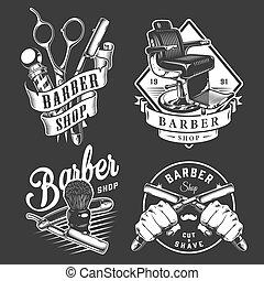 Vintage barbershop badges