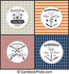 Vintage barbershop lettering, set of colorful stickers, labels, shiny blades, hair cuts, shaves cuts
