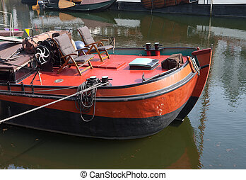 vintage barge - old barge but now in use as a houseboat