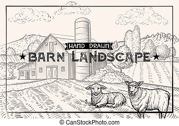 Vintage barn landscape and Farm animals Lamb and Sheep. Textured Horizontal Template.