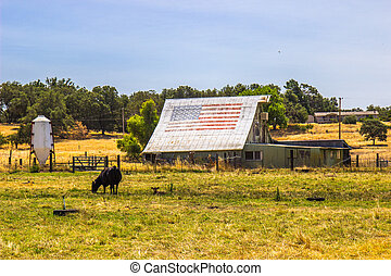 Vintage Barn & Sheds In Disprepair With American Flag On Roof