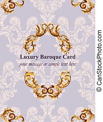 Vintage Baroque card background Vector illustrations gold and lavender colors rich style