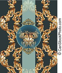 Vintage Baroque card background Vector illustrations gold and green